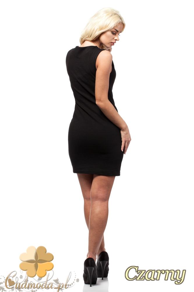 CM1690 Skórzana sukienka mini bez rękawów - czarna