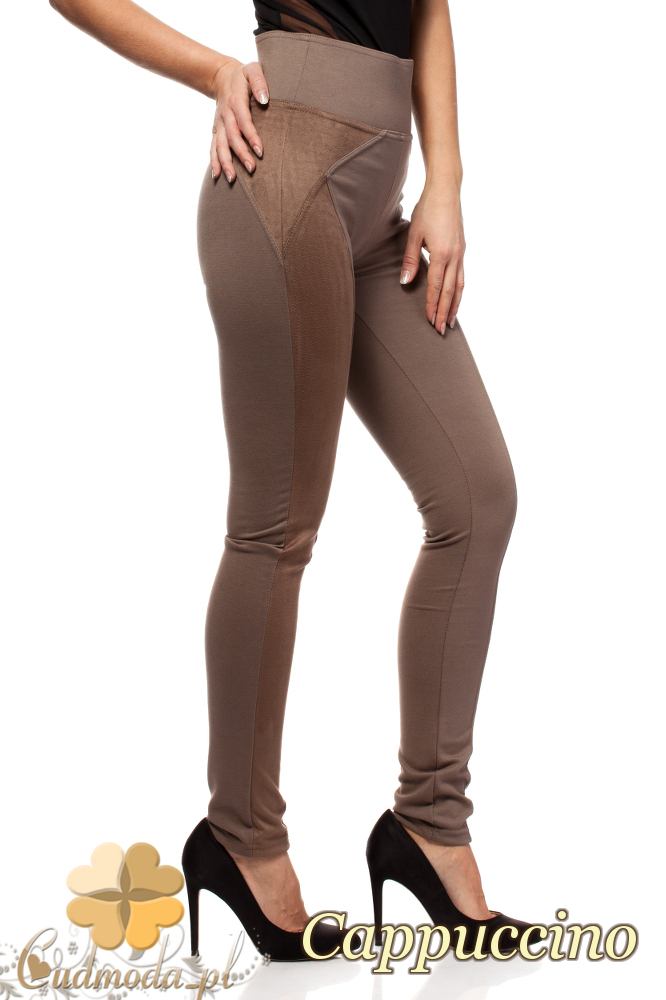 CM0305 Legginsy spodnie damskie z zamszem - cappuccino