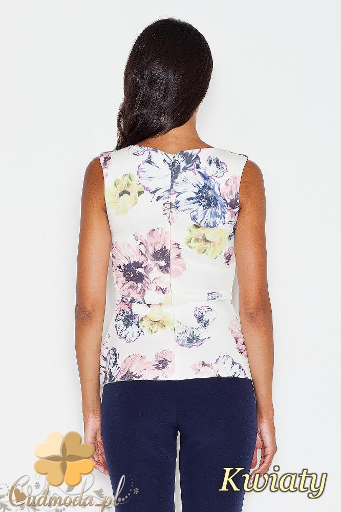 CM1727 Bluzka na ramiączkach z rozcięciem - kwiaty