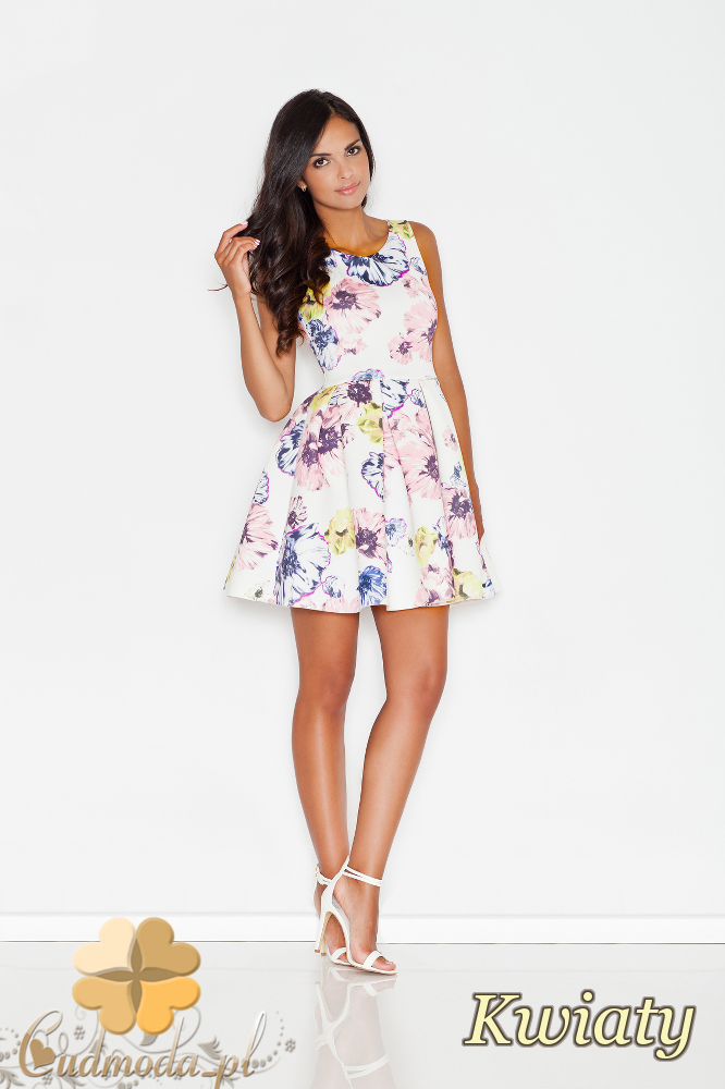 CM1729 Kobieca sukienka mini w kwiaty