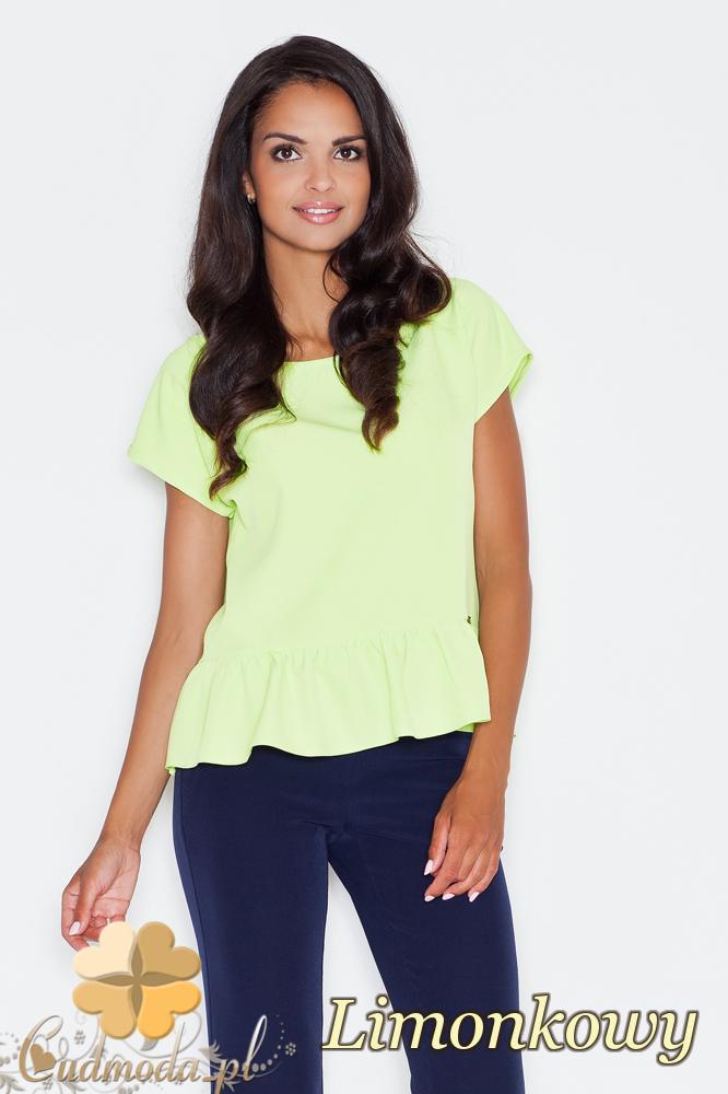 CM1731 Kobieca bluzka z krótkim rękawem i falbanką - limonkowa
