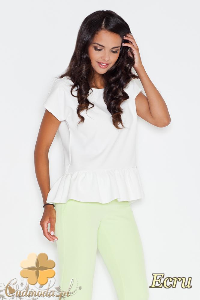 CM1731 Kobieca bluzka z krótkim rękawem i falbanką - ecru