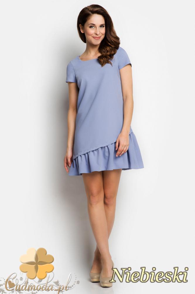 CM1736 Odcinana sukienka damska z falbanką - niebieska