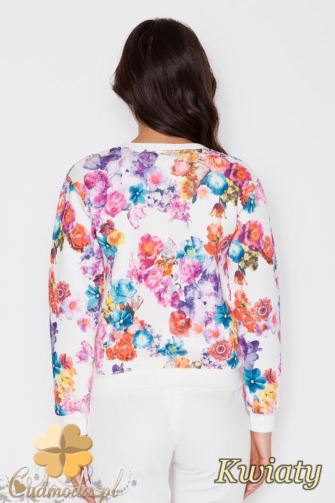 CM1743 Elegancka bluzka damska z długim rękawem - kwiaty
