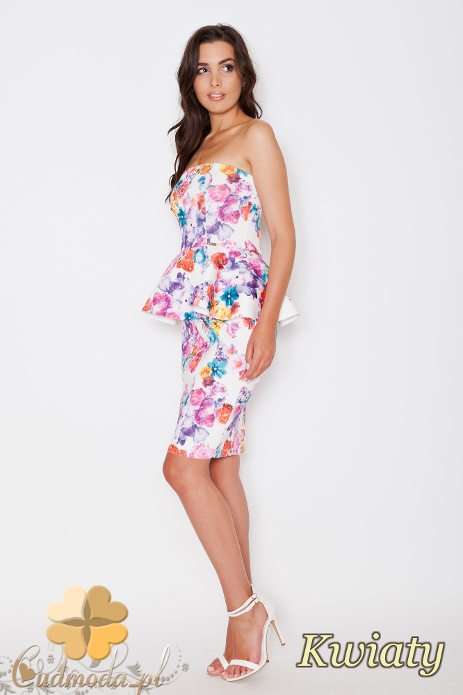 CM1744 Dopasowana sukienka baskinka długości mini - kwiaty
