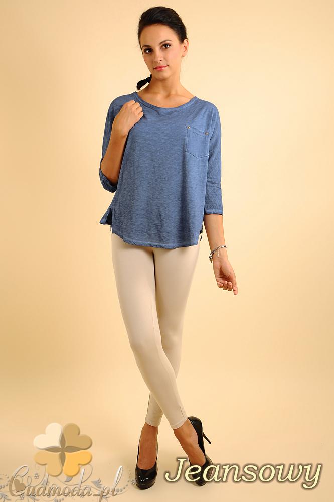 CM0141 Bluzka koszula z ćwiekami na plecach - jeansowa