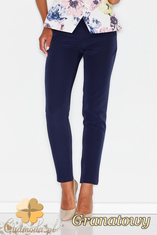 CM1771 Eleganckie spodnie kobiece na lato - granatowe