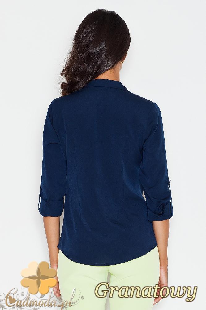 CM1775 Zapinana na napy koszula damska z długim rękawem - granatowa