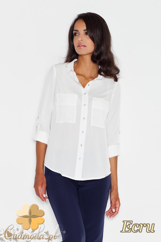 18404f8b1770ee CM1775 Zapinana na napy koszula damska z długim rękawem - ecru ...