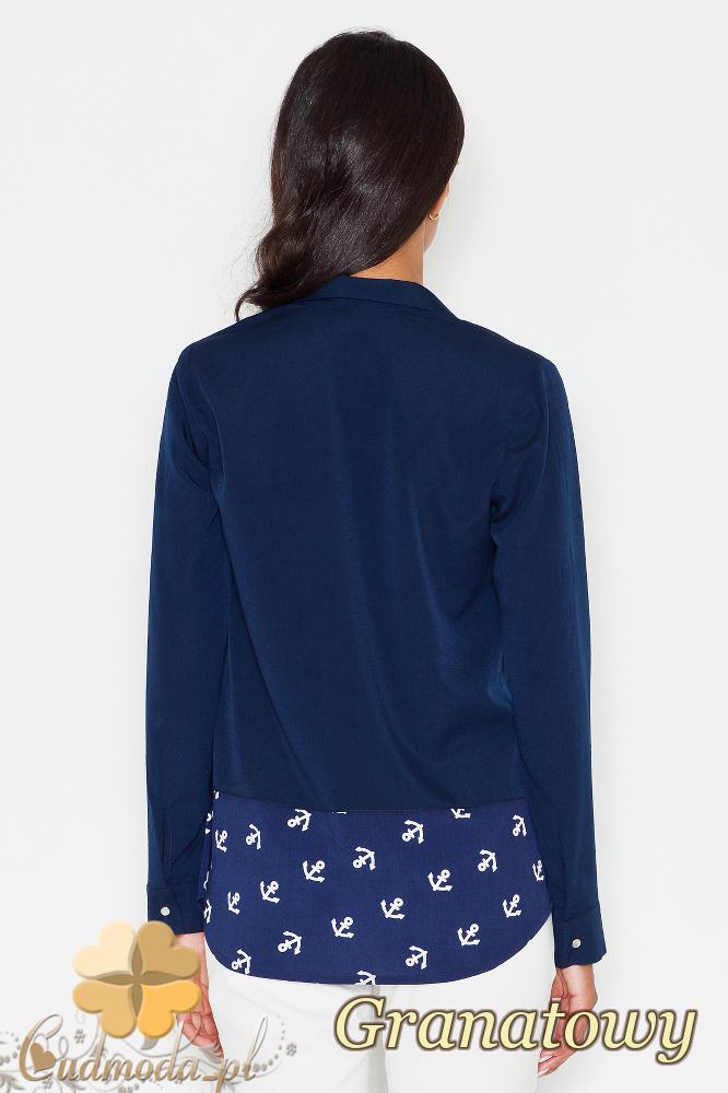 CM1776 Koszula damska z motywem zapinana na napy - granatowa