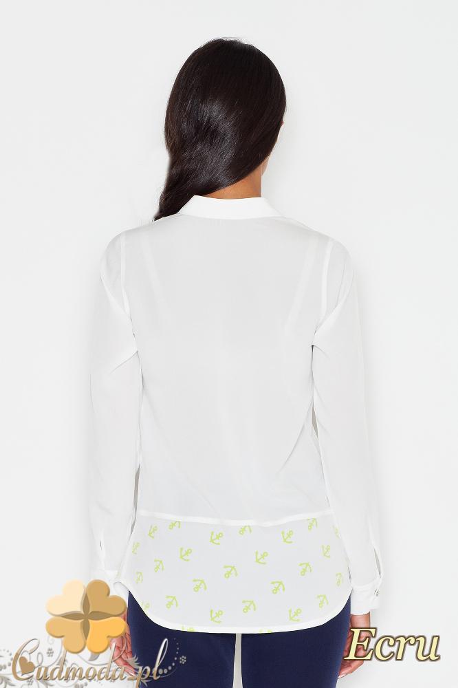 CM1776 Koszula damska z motywem zapinana na napy - ecru