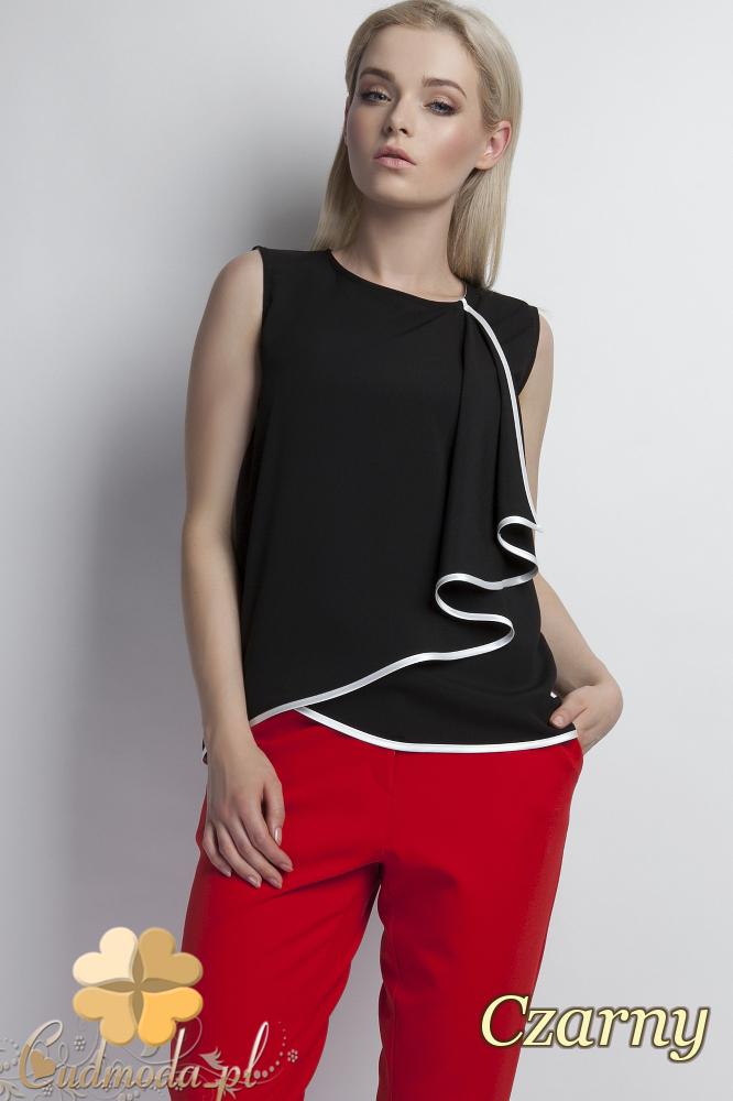 CM1777 Zwiewna bluzka damska z asymetryczną falbanką - czarna