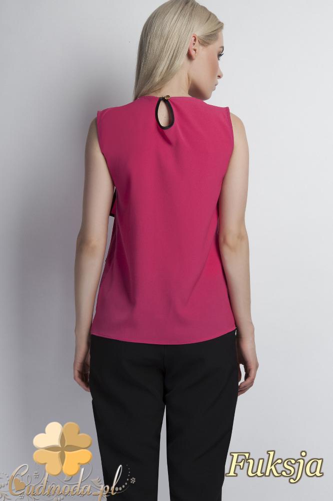 CM1777 Zwiewna bluzka damska z asymetryczną falbanką - fuksja