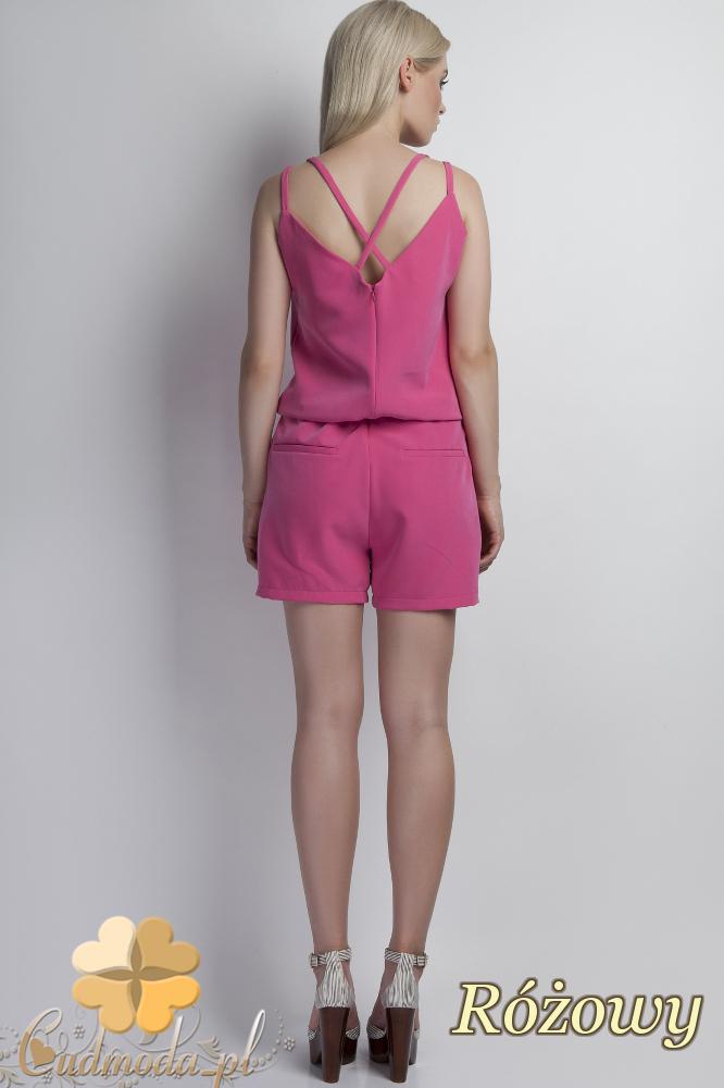 CM1779 Krótki kombinezon damski na ramiączkach - różowy