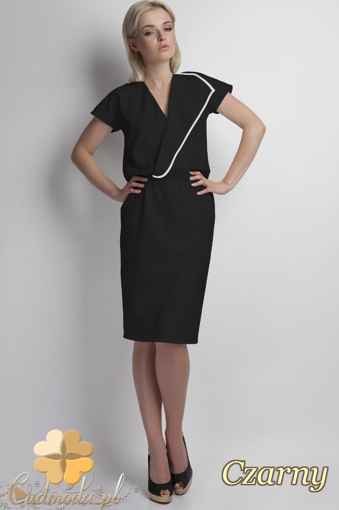 CM1785 Kopertowa sukienka z krótkim rękawem - czarna