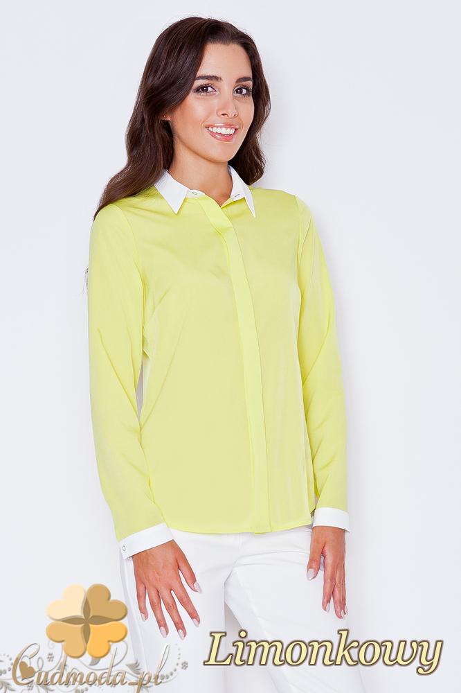 CM1786 Stylowa koszula damska z białymi mankietami - limonkowa
