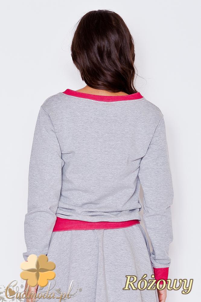 CM1787 Bluzka damska z lamówką w kontrastowym kolorze - różowa