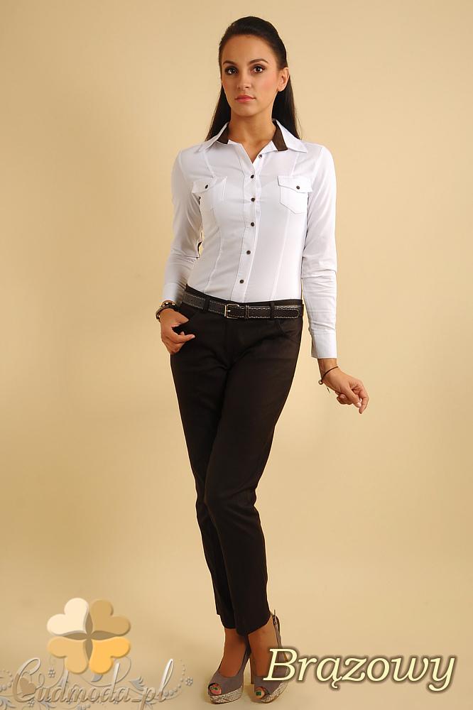 CM0153 Eleganckie damskie proste spodnie na kant - brązowe