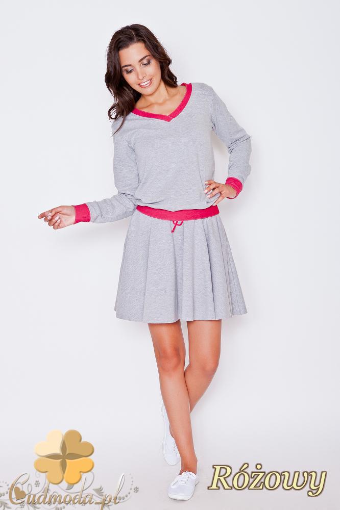CM1790 Dresowa spódniczka mini - różowa