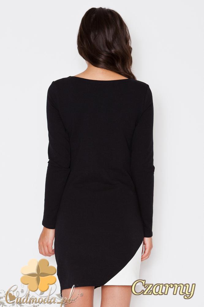 CM1791 Dopasowana sukienka mini z długim rękawem - czarna