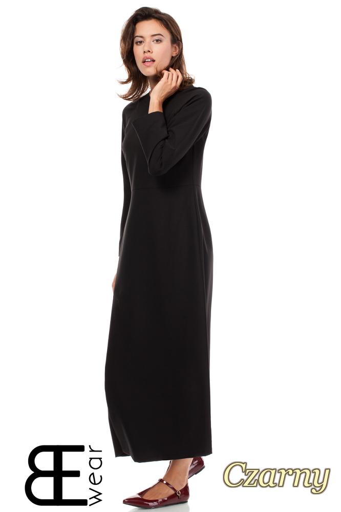 CM1860 Odcinana sukienka maxi z rozcięciem - czarna