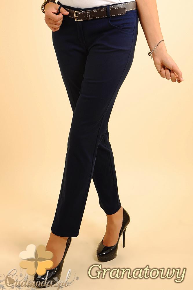 CM0153 Eleganckie damskie proste spodnie na kant - granatowe