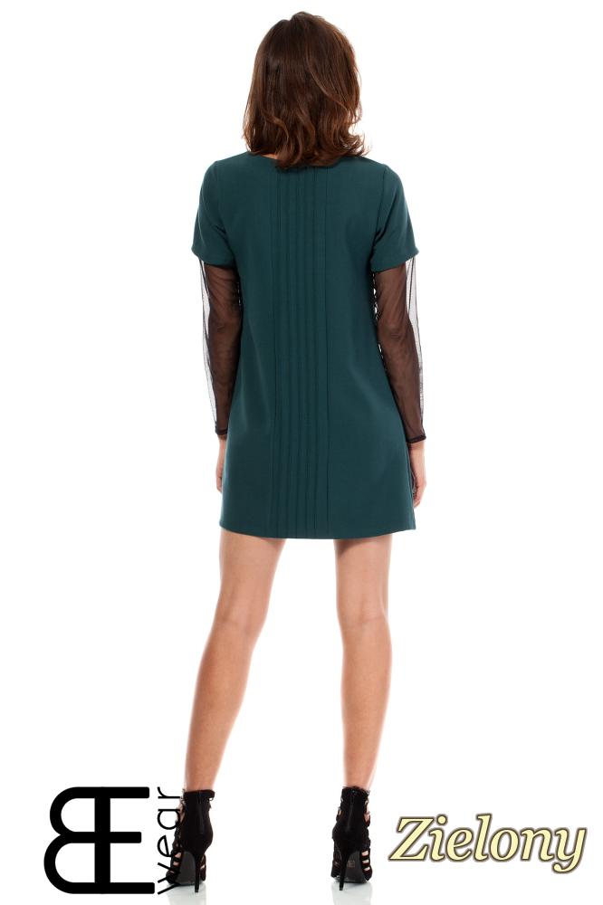 CM1867 Sukienka damska z przezroczystymi rękawami - zielona