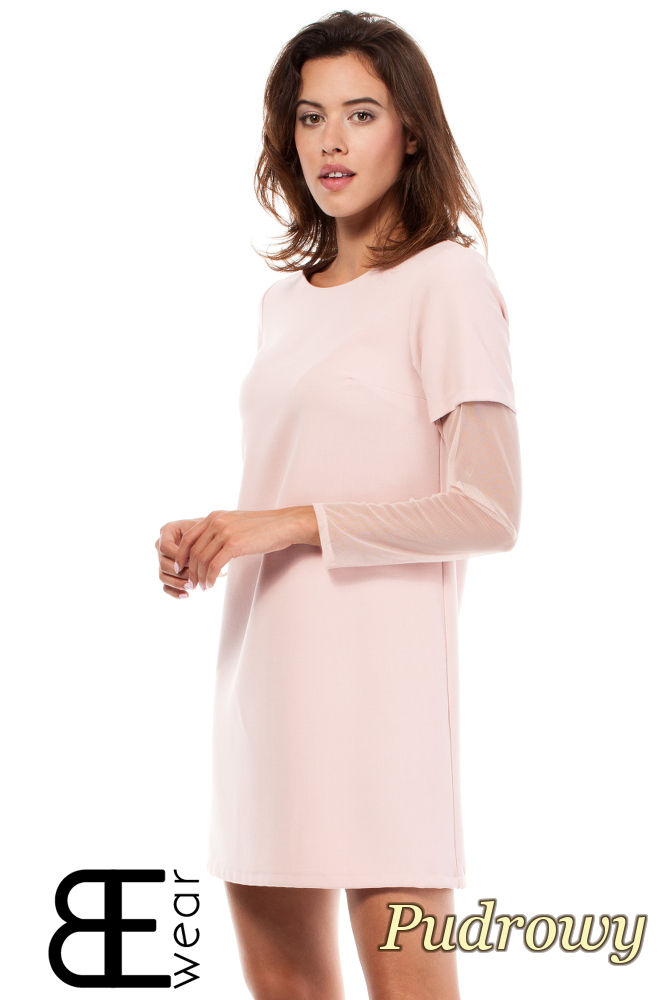CM1867 Sukienka damska z przezroczystymi rękawami - pudrowa