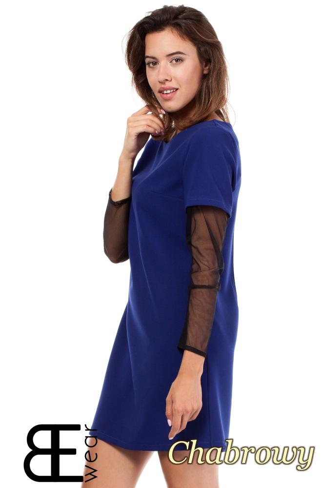 CM1867 Sukienka damska z przezroczystymi rękawami - chabrowa