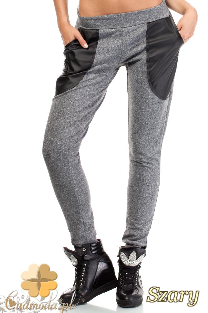 CM1843 Dresowe spodnie damskie ze skórzanymi kieszeniami - szare