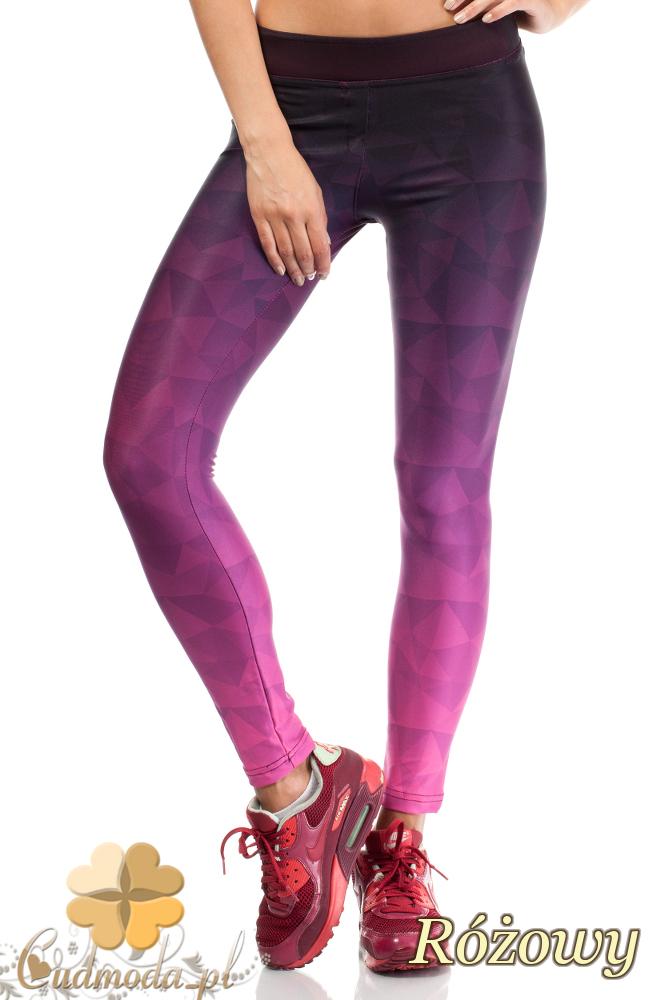 CM1833 Sportowe neonowe legginsy - różowe