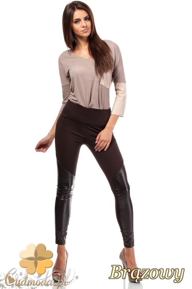 CM1822 Dopasowane legginsy ze skórzanymi wstawkami na piszczelach - brązowe