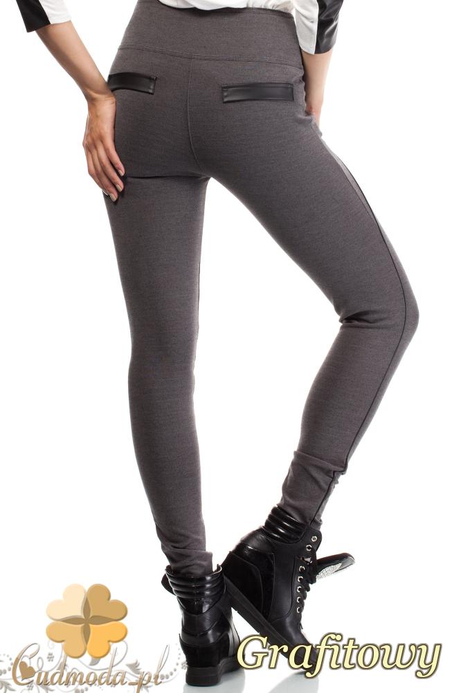 CM1815 Stylowe legginsy z zamkami i skórzanymi wstawkami z tyłu - grafitowe