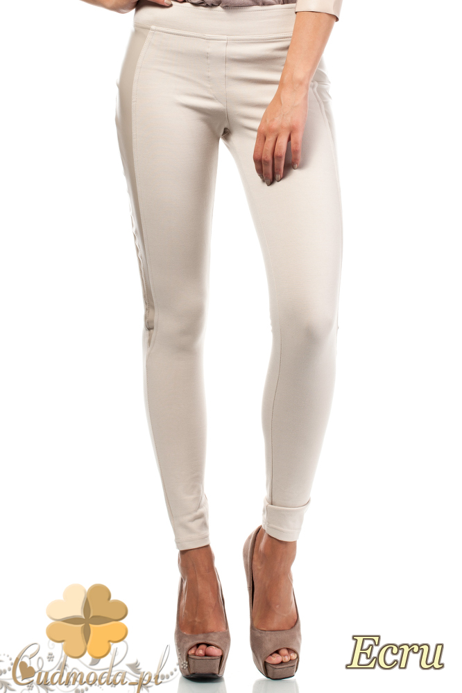 CM1819 Wyszczuplające spodnie rurki ze skórzaną wstawką na boku - ecru