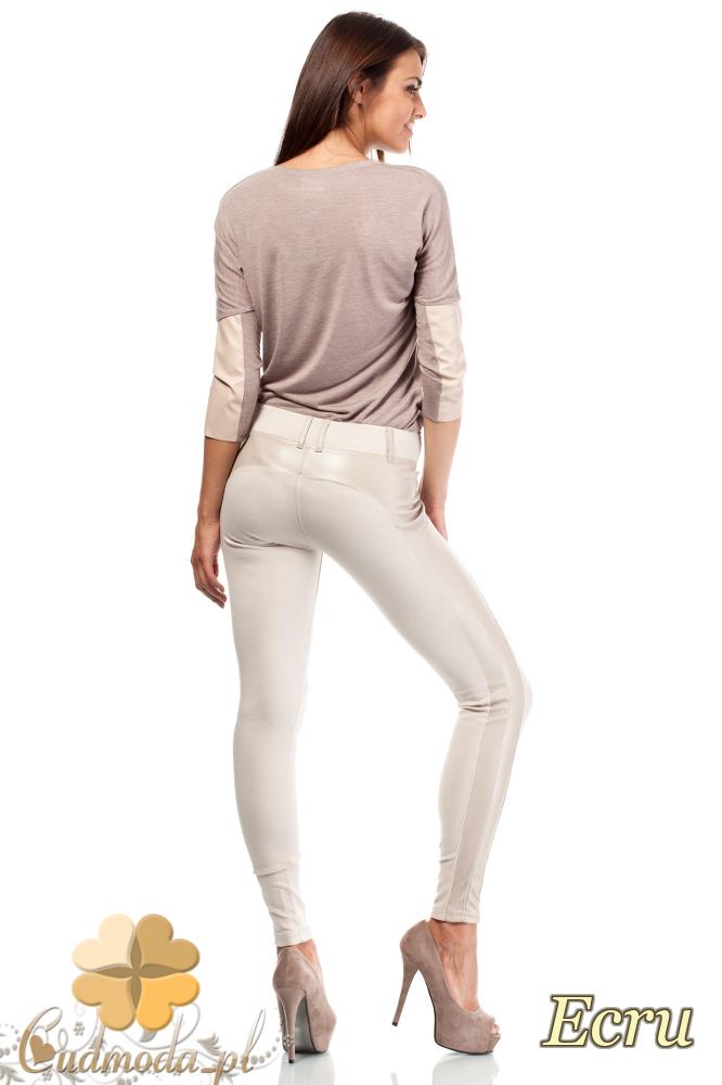 CM1816 Elastyczne dopasowane legginsy ze skórzaną wstawką - ecru