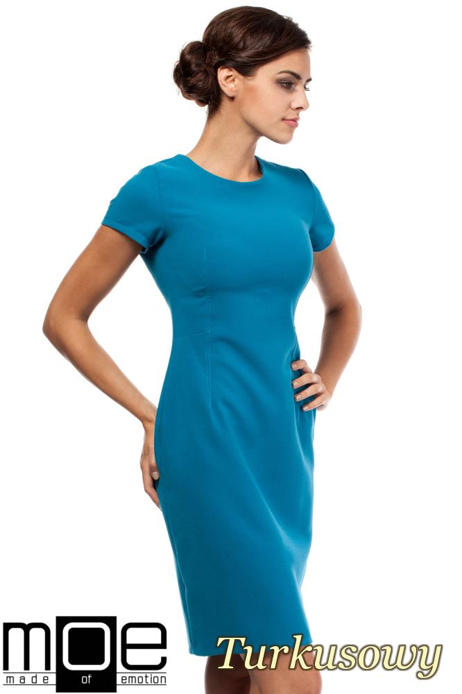 CM1800 Klasyczna gładka sukienka wieczorowa - turkusowa