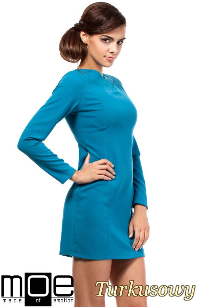 CM1801 Taliowana sukienka z dekoltem w serek - turkusowa