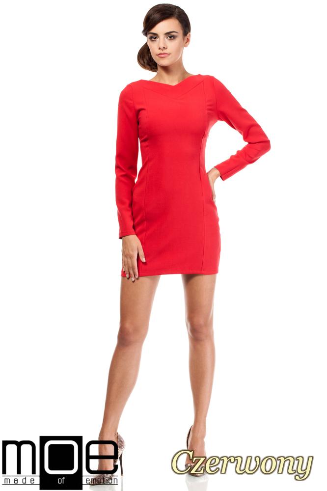 CM1801 Taliowana sukienka z dekoltem w serek - czerwona