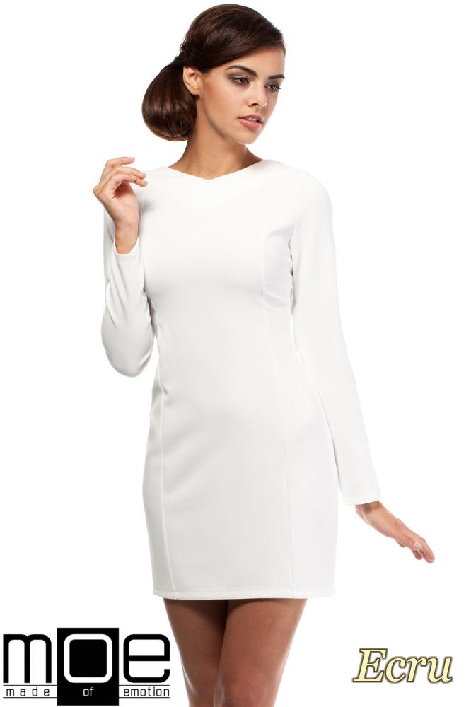 CM1801 Taliowana sukienka z dekoltem w serek - ecru