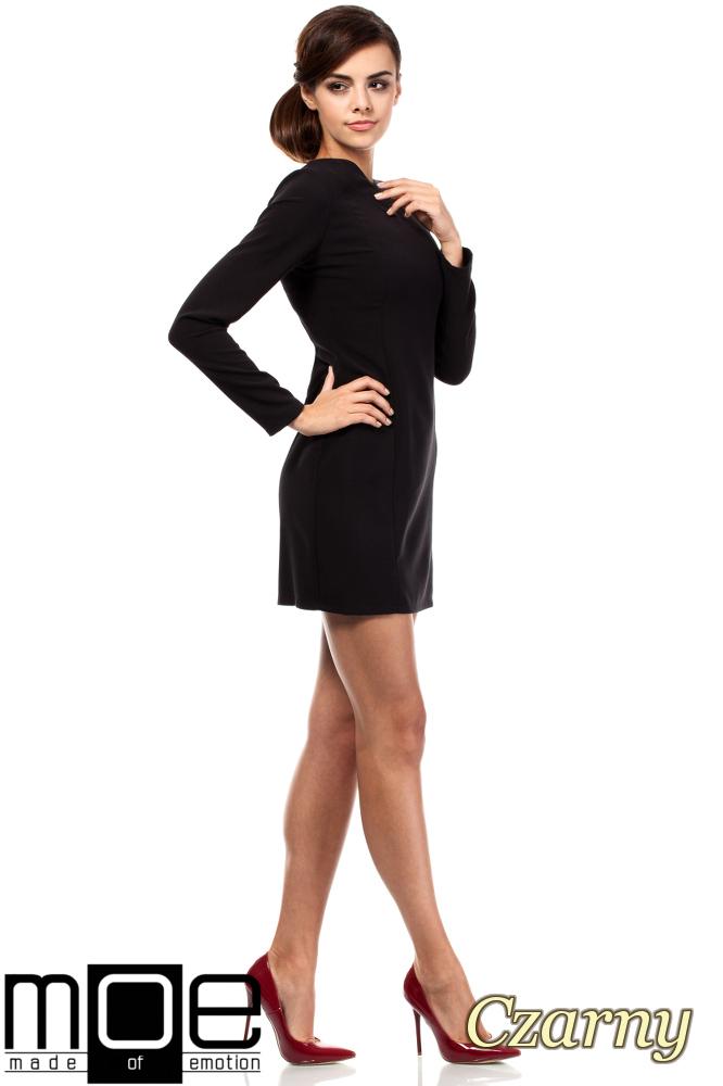 CM1801 Taliowana sukienka z dekoltem w serek - czarna