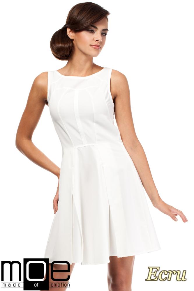 CM1806 Rozkloszowana sukienka kontrafałda na ramiączkach - ecru