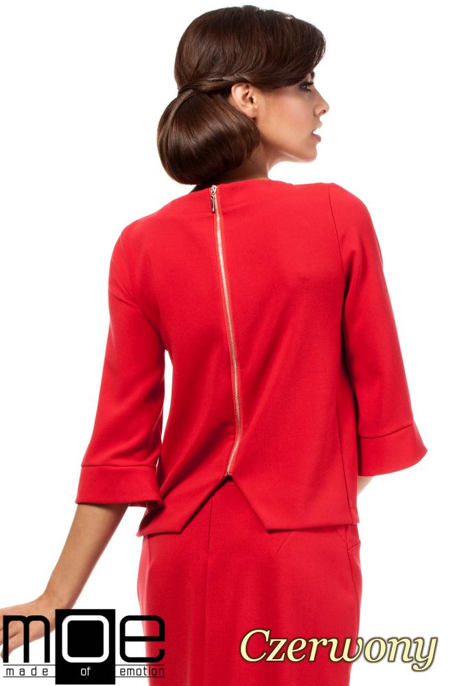 CM1808 Gładka bluzka z zamkiem na plecach - czerwona