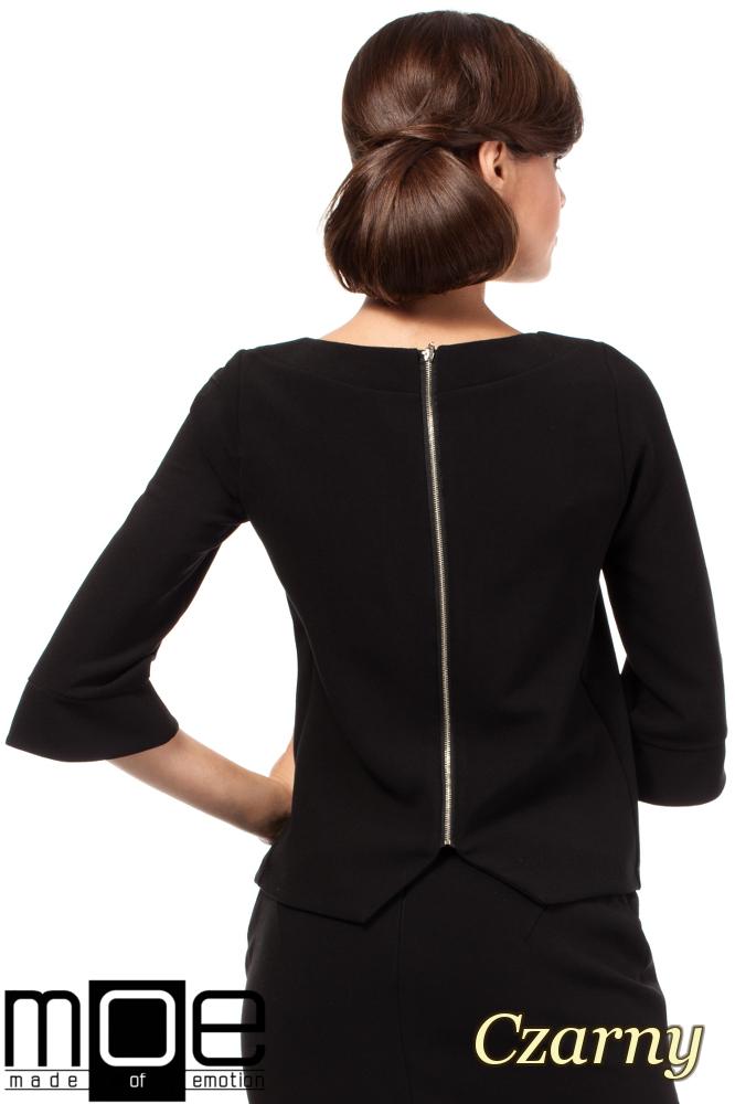CM1808 Gładka bluzka z zamkiem na plecach - czarna