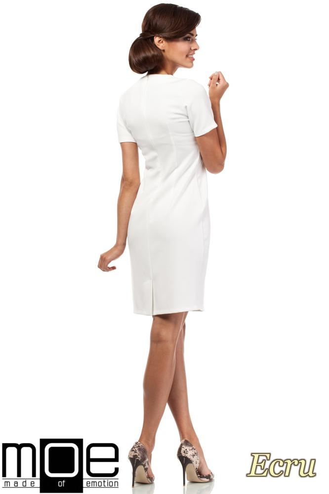 CM1872 Dopasowana sukienka z dekoltem karo - ecru