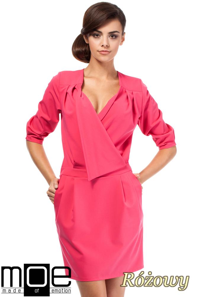 CM1874 Kopertowa sukienka mini z zakładką - różowa