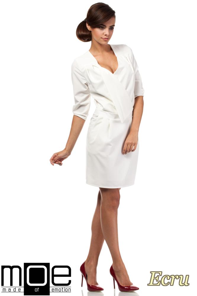 CM1874 Kopertowa sukienka mini z zakładką - ecru