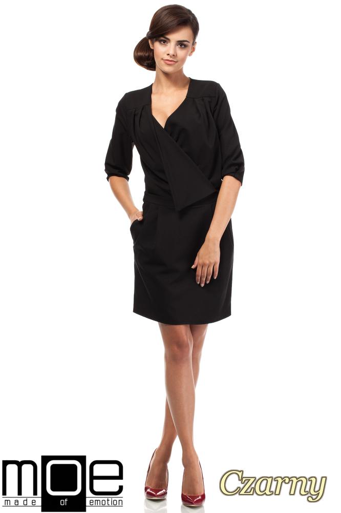 CM1874 Kopertowa sukienka mini z zakładką - czarna