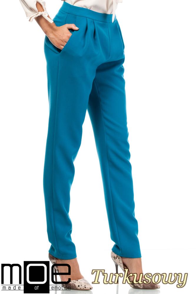 CM1875 Modne spodnie damskie chinosy - turkusowe