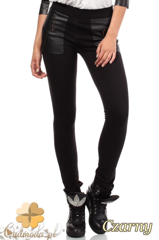 CM1814 Dopasowane legginsy ze skórzanymi kieszeniami i zamkami - czarne