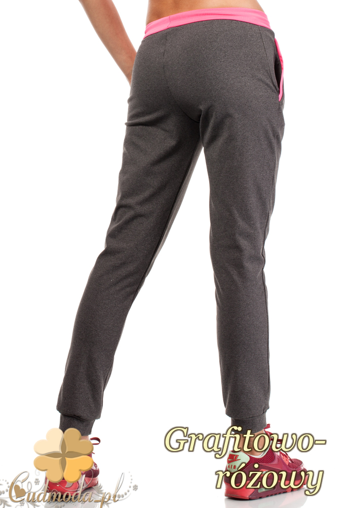 CM1853 Dresowe sportowe spodnie damskie - grafitowo-różowe